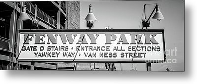 Fenway Park Sign Black And White Panoramic Photo Metal Print by Paul Velgos