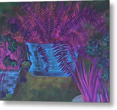 Fern Basket Metal Print by Linda Eades Blackburn