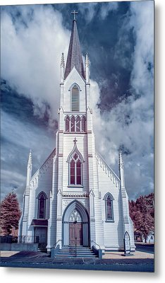 Metal Print featuring the photograph Ferndale Church In Infrared by Greg Nyquist