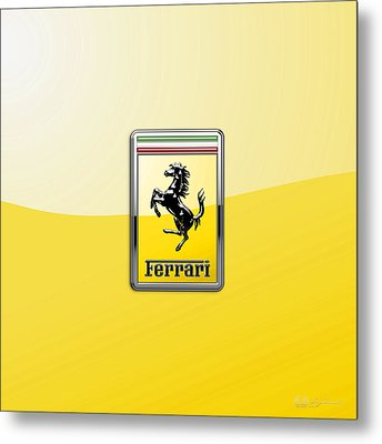 Ferrari 3d Badge- Hood Ornament On Yellow Metal Print by Serge Averbukh