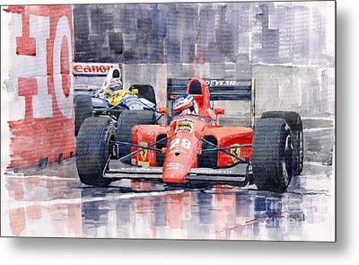 Ferrari F1 Jean Alesi Phoenix Us Gp Arizona 1991 Metal Print by Yuriy  Shevchuk
