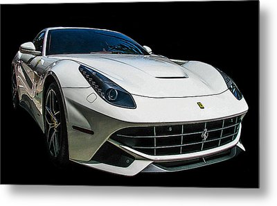 Ferrari F12 Berlinetta In White Metal Print