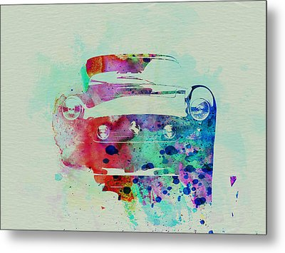 Ferrari Front Watercolor Metal Print by Naxart Studio