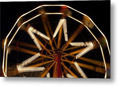 Ferris Wheel At Night Metal Print by Helen Northcott