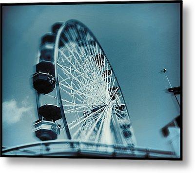 Metal Print featuring the photograph Blue Ferris Wheel by Douglas MooreZart