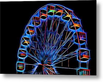 Ferris Wheel Neon Metal Print by Terry DeLuco