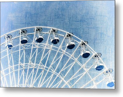 Wonder Wheel Series 1 Blue Metal Print by Marianne Campolongo