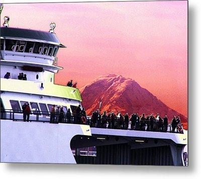 Ferry And Da Mountain Metal Print by Tim Allen