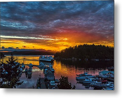 Ferry Boat Sunrise Metal Print