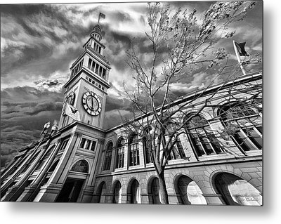 Ferry Building Black  White Metal Print