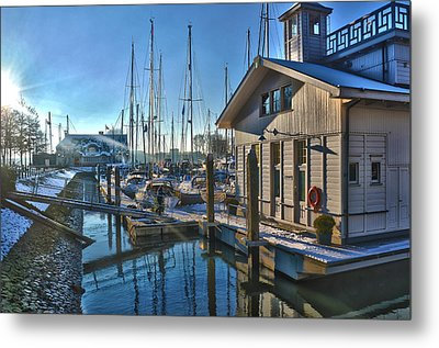 Ferry Harbour In Winter Metal Print by Frans Blok