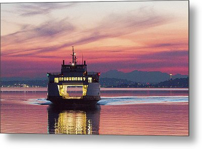 Ferry Issaquah Docking At Dawn Metal Print by E Faithe Lester