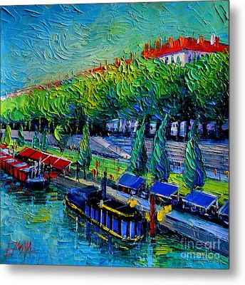 Festive Barges On The Rhone River Metal Print by Mona Edulesco