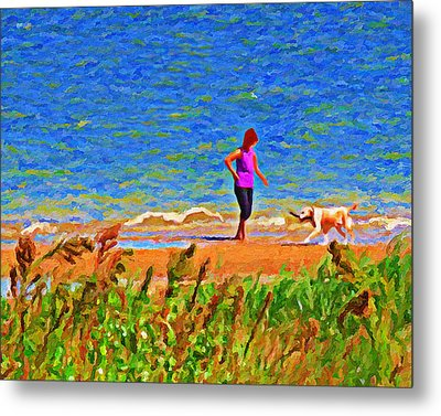Playing Fetch With Dog Along The Shoreline Metal Print by Le Artman