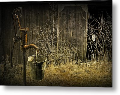 Fetching Water From The Old Pump Metal Print by Randall Nyhof