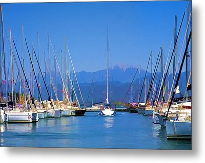 Metal Print featuring the digital art Fethiye Harbour by Rob Tullis