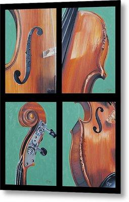 Fiddle Quartet Metal Print by Emily Page