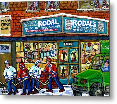 Fiddler On The Roof Painting Canadian Art Jewish Montreal Memories Rodal Gift Shop Van Horne Hockey  Metal Print