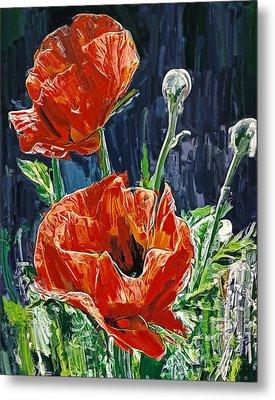 Field Flowers Red Metal Print by Yury Malkov