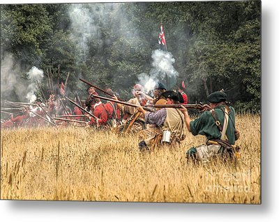 Field Of Fire French And Indian War Battle Metal Print by Randy Steele