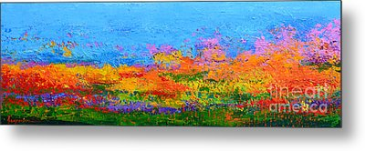 Abstract Field Of Wildflowers, Modern Art Palette Knife Metal Print