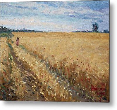 Field Of Grain In Georgetown On Metal Print by Ylli Haruni