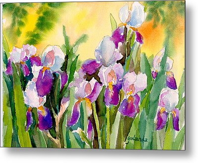 Metal Print featuring the painting Field Of Irises by Yolanda Koh