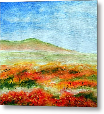 Metal Print featuring the painting Field Of Poppies by Jamie Frier