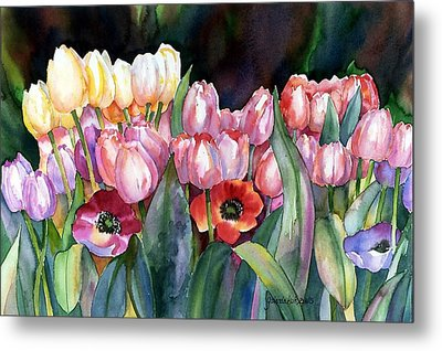 Metal Print featuring the painting Field Of Tulips by Yolanda Koh