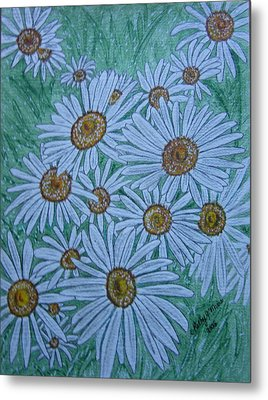 Field Of Wild Daisies Metal Print