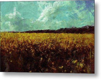 Field Of Yellow Metal Print by Mark Denham