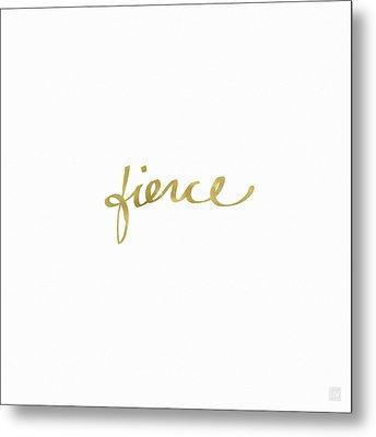 Fierce Gold- Art By Linda Woods Metal Print