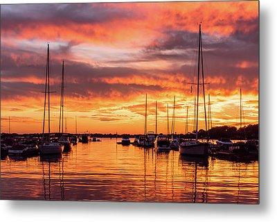 Fiery Lake Norman Sunset Metal Print by Serge Skiba