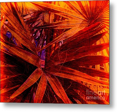 Fiery Palm Metal Print by Susanne Van Hulst