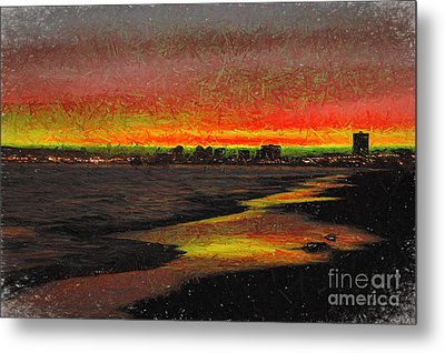 Metal Print featuring the digital art Fiery Sunset by Mariola Bitner