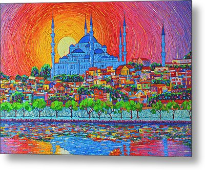 Fiery Sunset Over Blue Mosque Hagia Sophia In Istanbul Turkey Metal Print