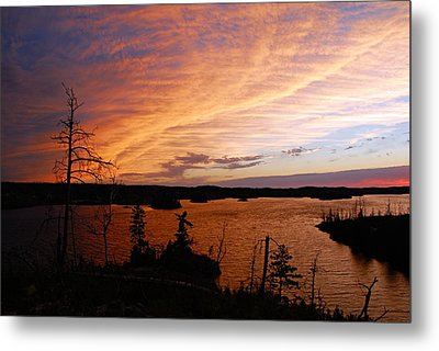 Fiery Sunset Over Seagull Lake Metal Print by Larry Ricker