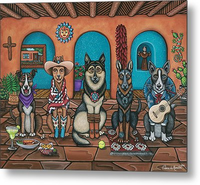 Fiesta Dogs Metal Print