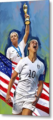 Metal Print featuring the painting Fifa World Cup U.s Women Soccer Carli Lloyd Abby Wambach Artwork by Sheraz A