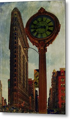 Fifth Avenue Clock And The Flatiron Building Metal Print by Chris Lord