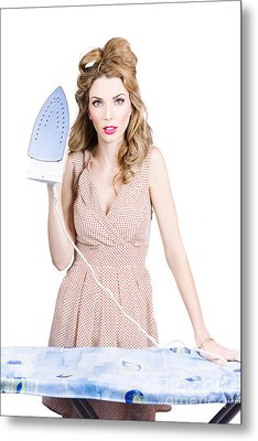 Fifties Housewife Woman Ironing Clothes Metal Print