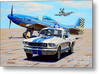 Fighter And Shelby Mustangs Metal Print by Frank Dalton