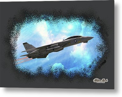 Fighter Jet F-14 In The Clouds Metal Print by William Havle