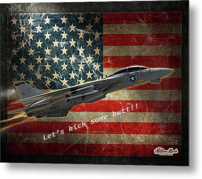 Fighter Jet F14 Kick Butt Metal Print by William Havle
