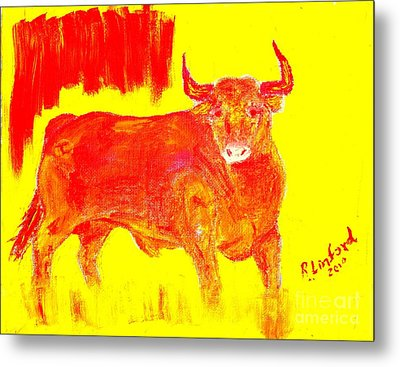 Fighting Red Bull 2 Metal Print by Richard W Linford