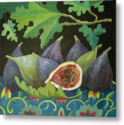 Figs On Black Metal Print by Judy Joel