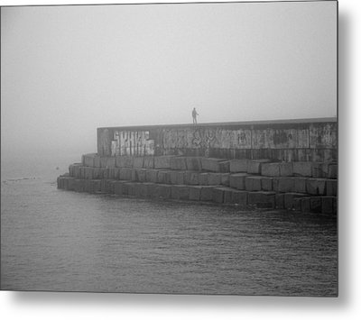 Metal Print featuring the photograph Figure In The Fog 2 by Mark Alan Perry