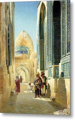 Figures In A Street Before A Mosque Metal Print by Richard Karlovich Zommer