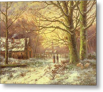 Figures On A Path Before A Village In Winter Metal Print by Johannes Hermann Barend Koekkoek