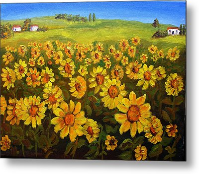 Filed Of Sunflowers Metal Print by Mary Jo Zorad